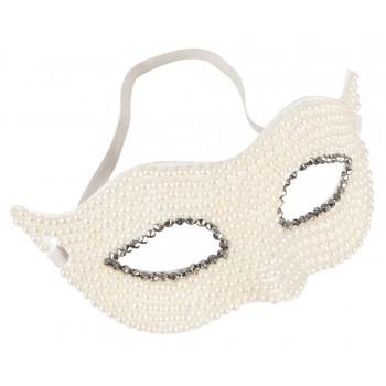 Máscara com Pérolas Branco